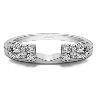 Sterling Silver Delicate Bow Style Ring Wrap With Diamonds (G-H,I2-I3) (0.2 Cts., G-H, I2-I3)