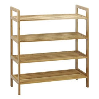 Oceanstar 4-Tier Natural Finish Bamboo Shoe Rack