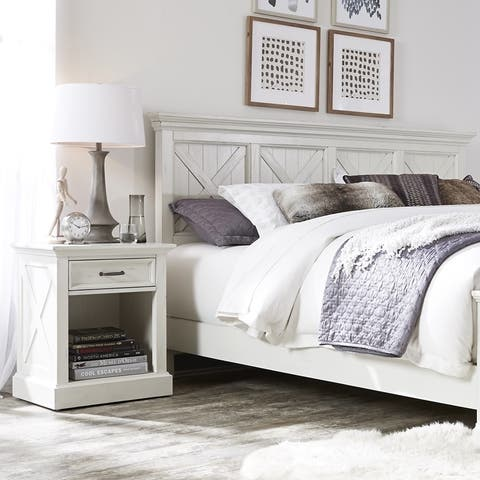 The Gray Barn Riverbone X-detail King Headboard and Nightstand