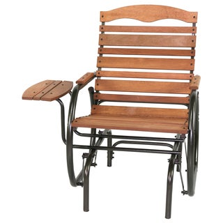 Jack Post Wood Glider Chair With Tray (35.5-inch long x 29.5-inch wide x 37-inch high)