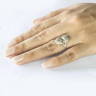 Twobirch 14k Gold Celtic Knot Double Heart Ring