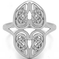 Sterling Silver Celtic Double Heart Ring