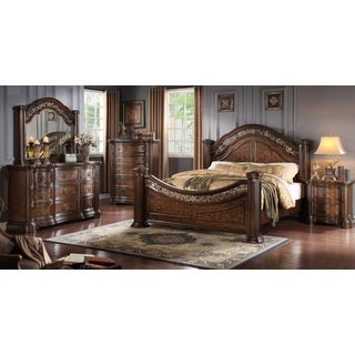 Boulogne Brown Cherry Finish Wood Bed Room Set, King bed, Dresser, Mirror, Night Stand, Chest