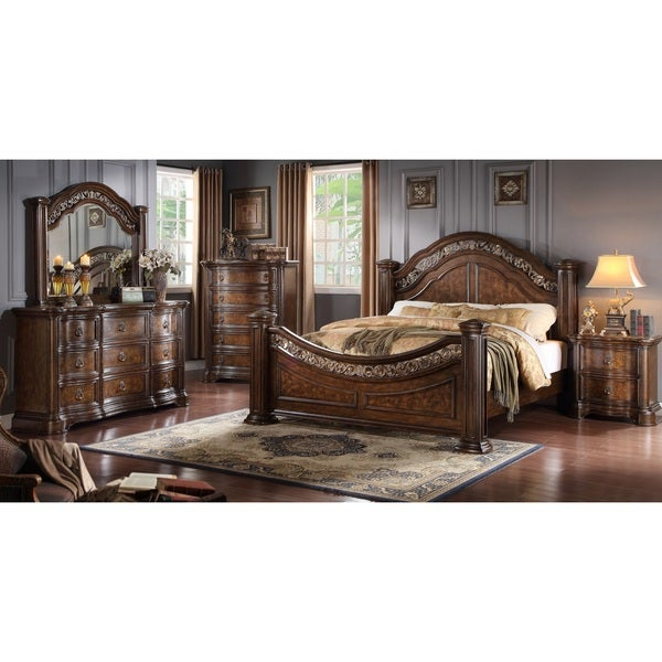 boulogne brown cherry finish wood bed room set king bed dresser mirror