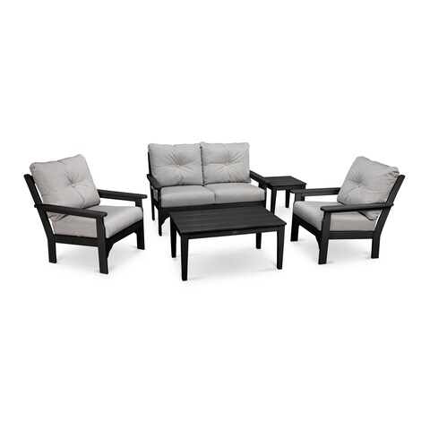 POLYWOOD Vineyard 5-Piece Outdoor Deep Seating Chair Set with Table
