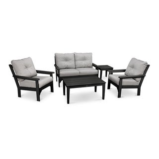 POLYWOOD® Vineyard 5-Piece Outdoor Deep Seating Chair Set with Table