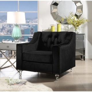 Webster Velvet Modern Contemporary Button Tufted Lucite Acrylic Legs Club Chair