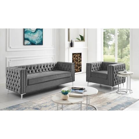 Dante Velvet Club Chair or Sofa Button Tufted Nailhead Trim