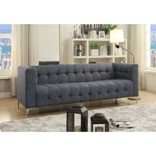 Bernard Linen Modern Contemporary Button Tufted Metal Y-leg Sofa