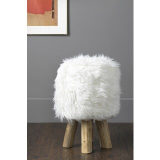 East At Main's Devers White Faux Fur Round Stool