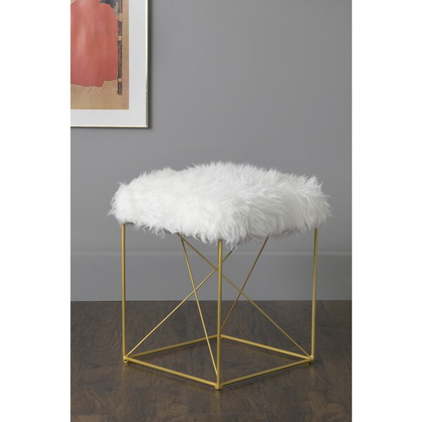 East At Main's Rains White Faux Fur Square Stool