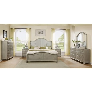 Aiden Golden Silver Finish Wood Bed Room Set King Bed Dresser Mirror