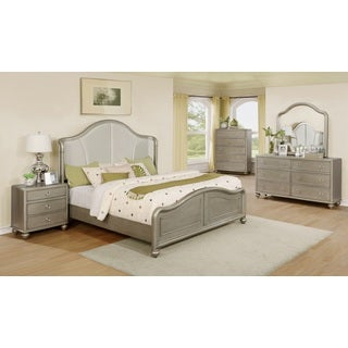 Aiden Golden-Silver Finish Wood Bed Room Set, King bed, Dresser, Mirror, Night Stand, Chest