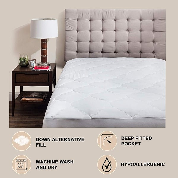 Fitted 100 /% Egyptian Cotton 300 Thread Count Queen Down Alternative Mattress Pad Deep Pocket