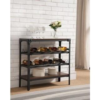 K and B Furniture Co. Inc Black Walnut Wood and Metal Storage Wine Rack