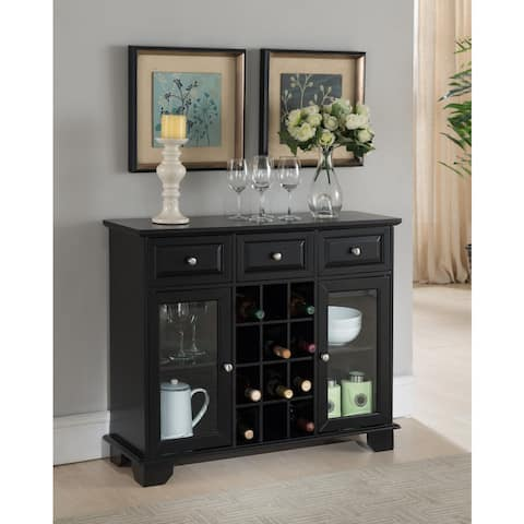 Copper Grove Sonfjallet Black Wood Storage Wine Cabinet