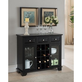 K and B Furniture Black Wood Storage Wine Cabinet