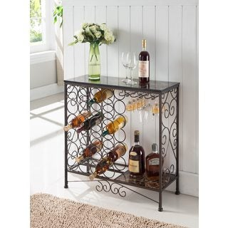 K and B Furniture Co Bronze Metal Storage Wine Rack