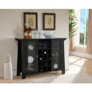 K and B Furniture Co Inc. Black Wood Storage Wine Cabinet