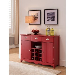 K and B Furniture Co Inc Red Wood Storage Wine Cabinet