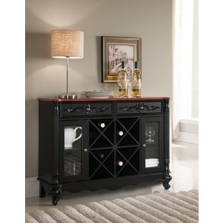 K and B Furniture Black and Walnut Wood Storage Wine Cabinet