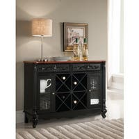 Copper Grove Sonfjallet Black and Walnut Wood Storage Wine Cabinet