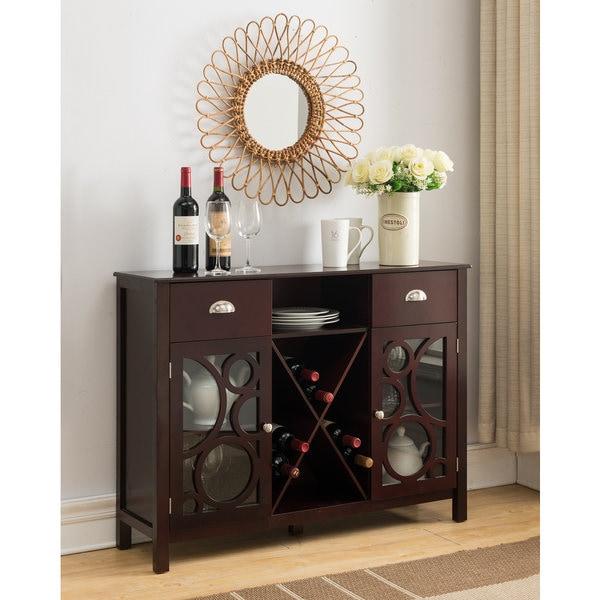 Porch & Den Pitcairn Dark Cherry Wood Storage Wine Cabinet