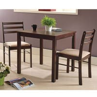 Pilaster Designs - Espresso Wood 3 Piece Dining Room Dinette Set Table & Two Chairs