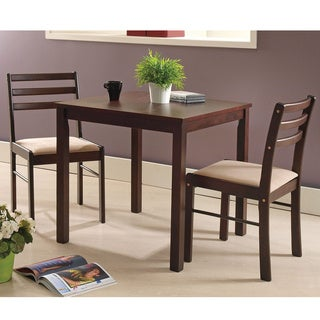 Pilaster Designs   Espresso Wood 3 Piece Dining Room Dinette Set Table U0026  Two Chairs