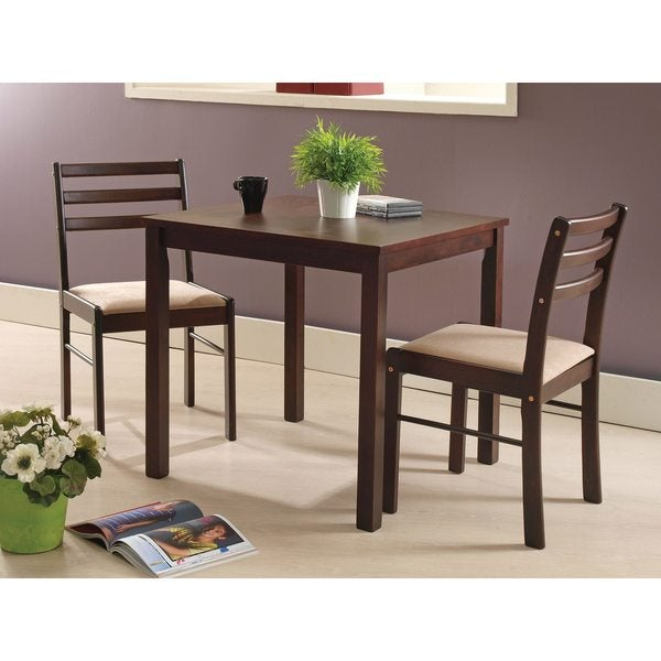 Beau Pilaster Designs   Espresso Wood 3 Piece Dining Room Dinette Set Table  U0026amp; Two Chairs