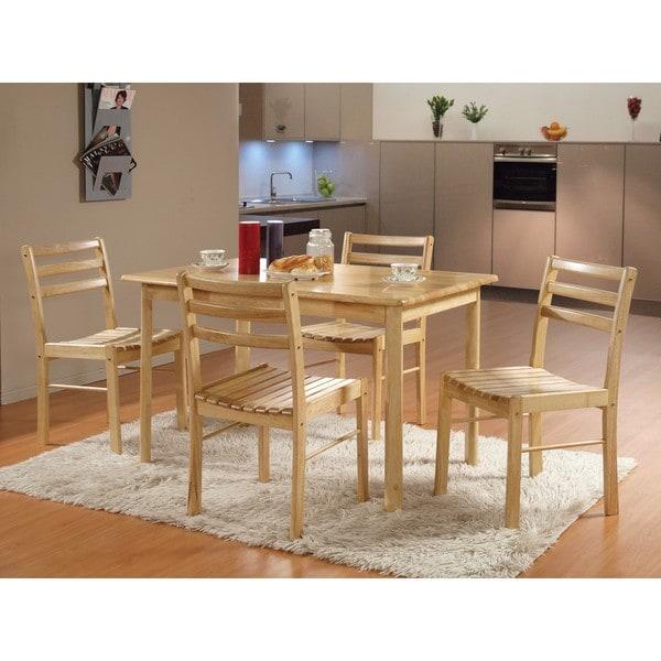 5 piece natural wood kitchen dinette set free shipping for Kitchen set natural