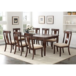 Cherry Wood Contemporary Rectangular Dinette Dining Room Table With 18-inch Leaf Extension