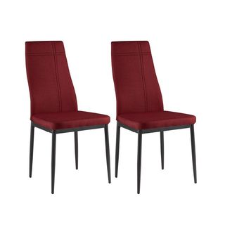 K and B Furniture Co Inc Red Fabric Side Chairs (Set of 4)