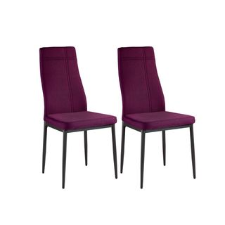 K and B Furniture Co Inc. Purple Fabric Metal Frame Kitchen and Dining Side Chairs (Set Of Four)