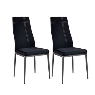 K and B Furniture Black Metal and Fabric Upholstered Dining Side Chairs (Set of 4)