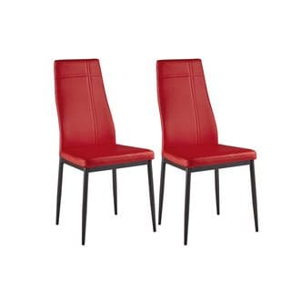 K and B Furniture Co. Inc. Red Faux-leather Kitchen and Dining Side Chairs with Metal Frame (Set of 4)