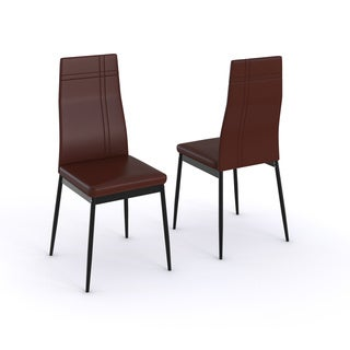 Dark Brown Metal Frame Faux Leather Kitchen & Dining Side Chairs (Set Of Two)