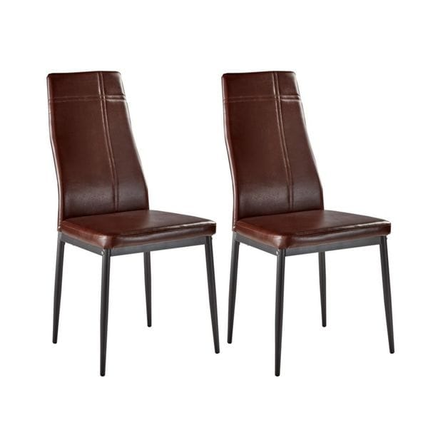 Dark Brown Metal Frame Faux Leather Kitchen And Dining Side Chairs (Set Of  4)