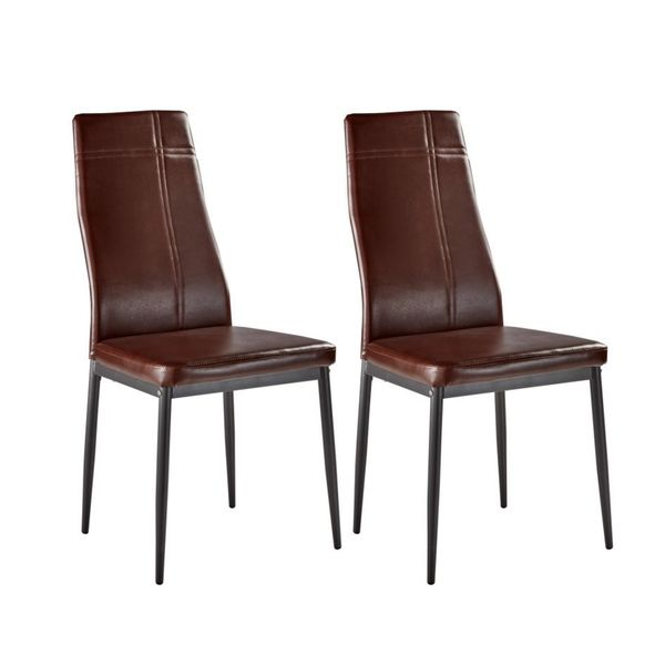 Brown Leather Maxwell Metal Dining Chair: Shop Dark Brown Metal Frame Faux Leather Kitchen And