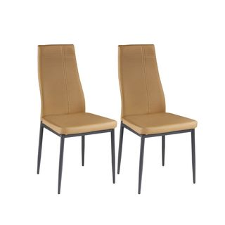 K and B Furniture Co Inc. Light Brown Metal Frame Kitchen and Dining Side Chairs (Set of 4)