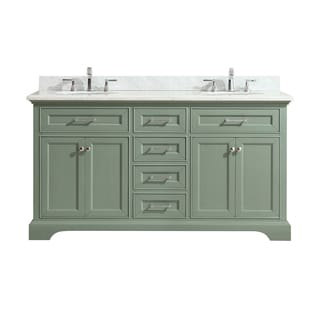 Azzuri Mercer 61 in. Double Sink Vanity in Sea Green finish with Carrera White Marble Top