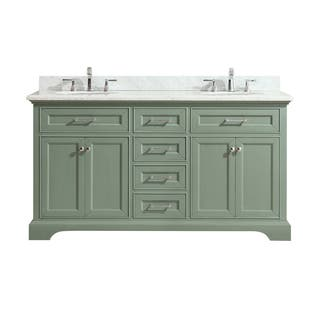 Azzuri Mercer 61 in. Double Sink Vanity in Sea Green finish with Carrera White Marble Top|https://ak1.ostkcdn.com/images/products/15050721/P21544135.jpg?impolicy=medium
