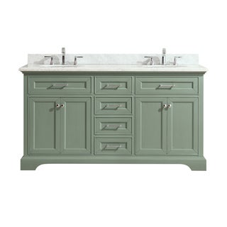 Azzuri by Avanity Mercer 61-inchDouble Sink Vanity in Sea Green finish with Carrera White Marble Top