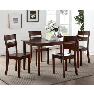 K and B Furniture Co Inc Dark Brown Wood Kitchen Dinette Dining Chairs (Set of 2)