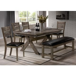 K and B Furniture Co. Inc. Ananke Rustic Walnut Wood Kitchen Dinette Dining Side Bench