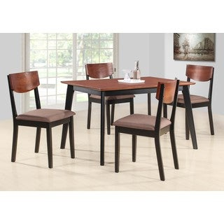 K and B Furniture Casey Brown and Black Wood Dining Chairs (Set of 4)