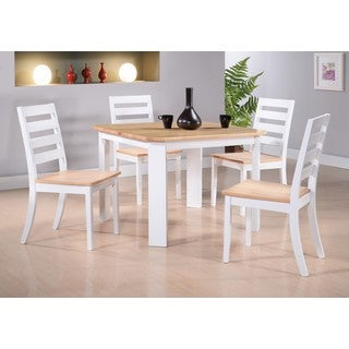 K and B Furniture Co Inc White/Natural Wood Kitchen/Dinette Side Chairs (Set of 4)