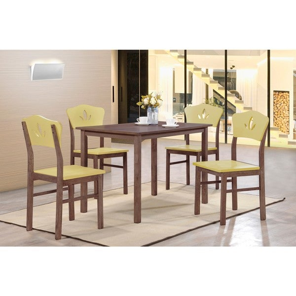 K and B Furniture Co Inc Yellow/ Chocolate Wood Kitchen Dinette Chairs (Set  of 4)