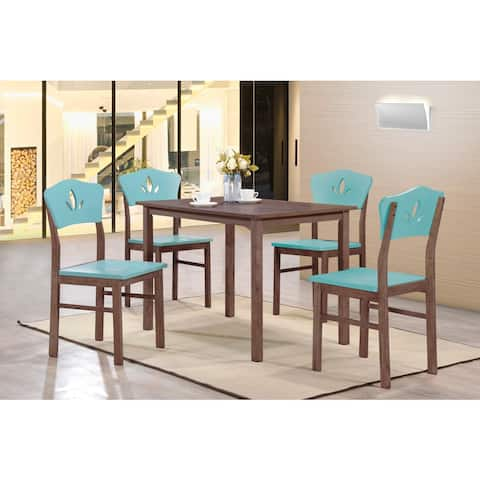 K and B Furniture Co. Inc. Blue and Chocolate Wood Kitchen Dinette Side Chairs (Set of 4)