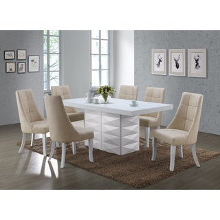 K and B Furniture Beige Vinyl Kitchen Dinette Dining Side Chairs (Set of 2)